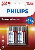 Батарейка PHILIPS POWER Alkaline AAA BLI 6 (4+2)