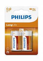 Батарейка солевая PHILIPS R14L2B/10 LONG LIFE C BL 2