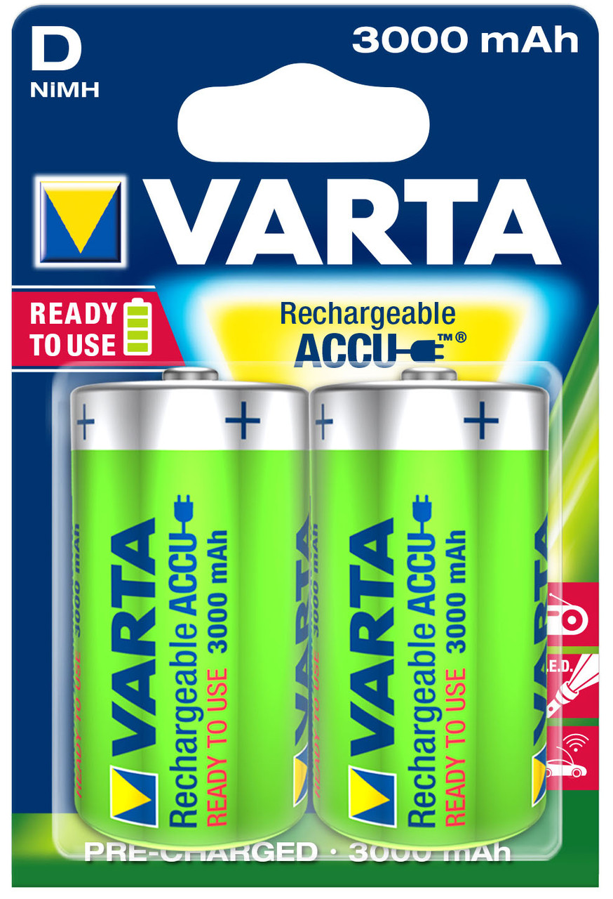 Аккумулятор VARTA 56720101402 RECHARGEABLE ACCU D 3000mAh BLI 2 NI-MH (READY 2 USE)