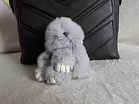 Меховой зайка, брелок кролик серый