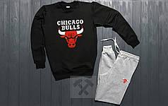 Костюм спортивный Chicago bulls черно-серый топ реплика