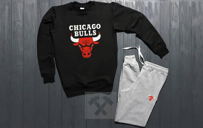 Костюм спортивный Chicago bulls черно-серый топ реплика, фото 2