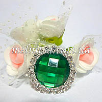 Клеевой декор  в стразовой оправе, 2 см, круглый, цвет зеленый