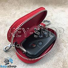 Ключница карманная (кожаная, красная, на молнии, с карабином, с кольцом), логотип авто Lexus (Лексус) , фото 2