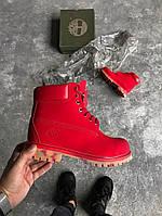 Женские ботинки Timberland 6 inch красный без меха (Реплика ААА+)