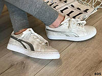 Последние размеры 36 и 41! Кроссовки кеды криперы ботинки под Puma Suede белые серебристые серебро