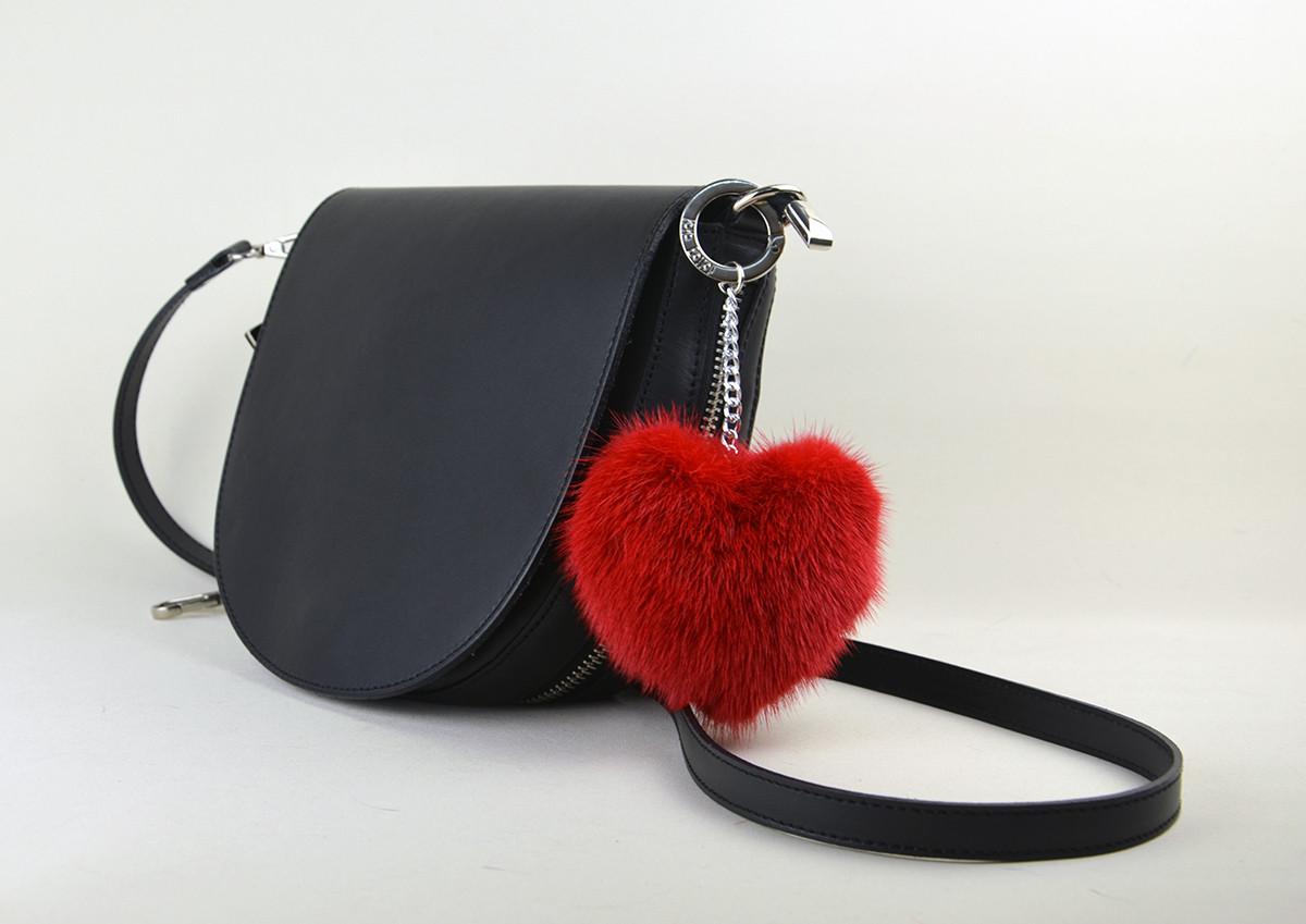 Норковое сердечко - меховой помпон Красный
