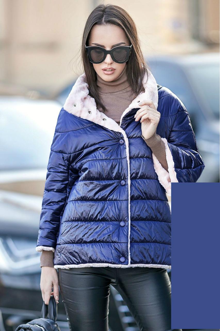 Женская стеганая двухсторонняя короткая куртка на кнопках