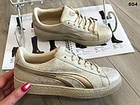 Кроссовки кеды криперы ботинки под Puma Suede пума и бежевые золотистые