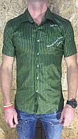 Рубашка мужская зеленая с коротким рукавом ОПТ LV-212