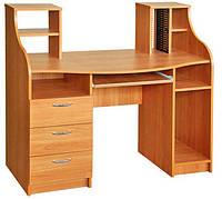 Красивый компьютерный стол Одиссей с надстройкой. Стол для ПК и ноутбука.