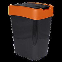"""Ведро для мусора 10 литров """"Евро"""" (гранит-оранжевый)    """"Алеана"""""""