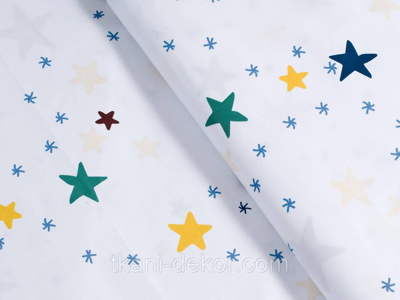 Сатин (хлопковая ткань) звезды и снежинки