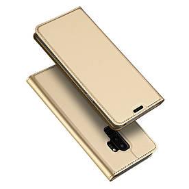 Чехол книжка для Samsung Galaxy S9 Plus боковой с отсеком для визиток, DUX DUCIS, золотистый