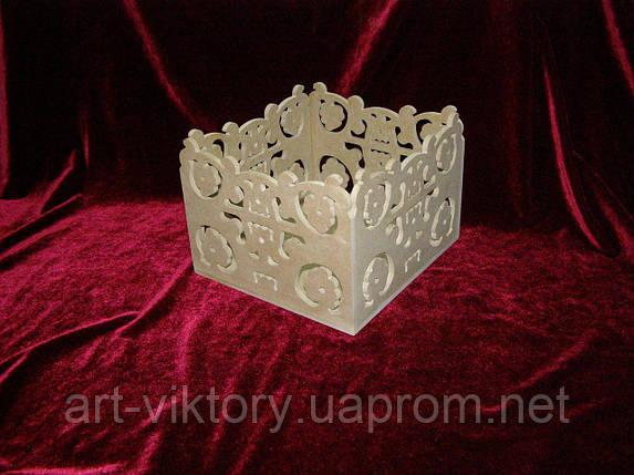 Короб різьблений (21 х 22 х 15 см), декор, фото 2