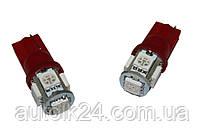 Led лампы в габарит подсветка номера красный  цвет W5W, Т10 5Leds 5050SMD, 12V .