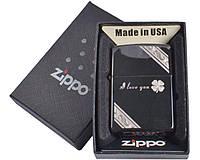 """Зажигалка бензиновая Zippo (с надпесью """"Я тебя люблю"""") №4729-5, в подарочной упаковке"""