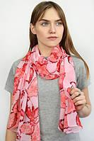 Розовый принтированный весенний шарфик