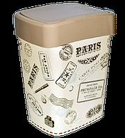 Ведро для мусора Евро с декором крем Париж Алеана - 10 л