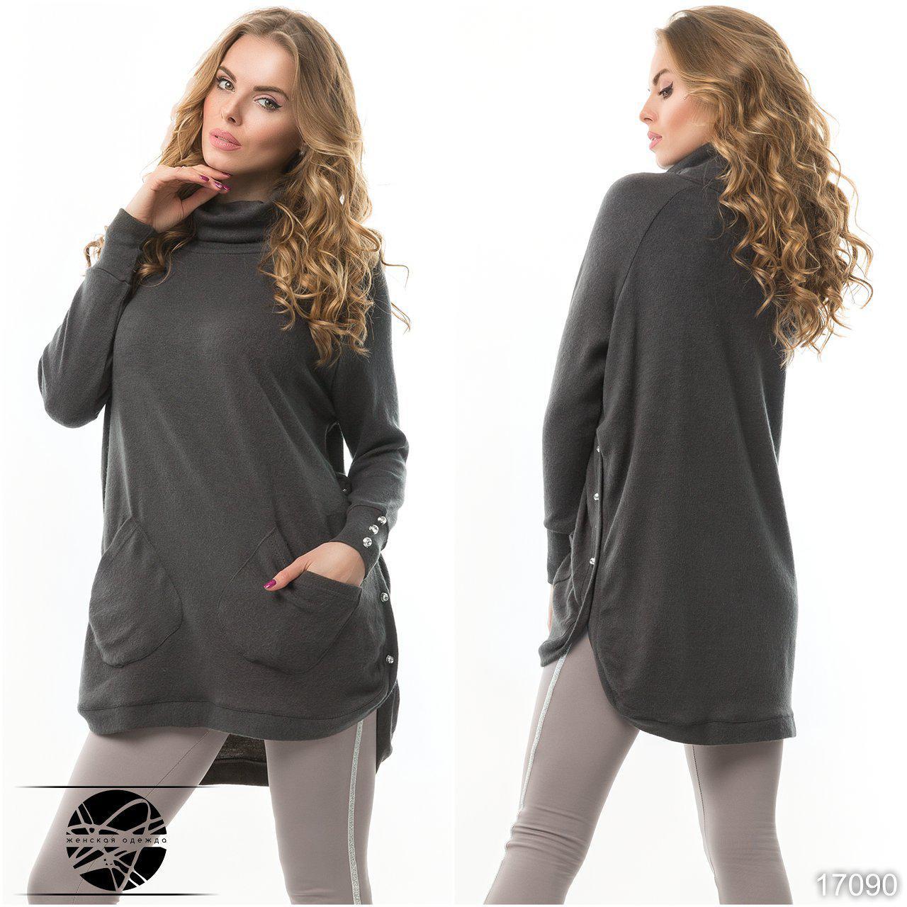 Женский комплект: туника с леггинсами серого цвета. Модель 17090