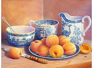 Картина по номерам Натюрморт с абрикосами и старинным сервизом