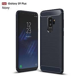 Чехол накладка для Samsung Galaxy S9 Plus SD845 силиконовый, Carbon Fibre, темно-синий