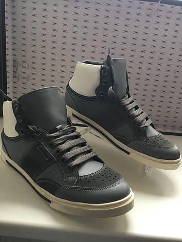 Кроссовки мужские кожаные темно-серого цвета высокие демисезонные Antony Morato, фото 2