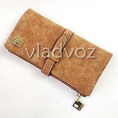 Модный женский кошелек клатч бумажник органайзер для телефона карточек денег коричневый