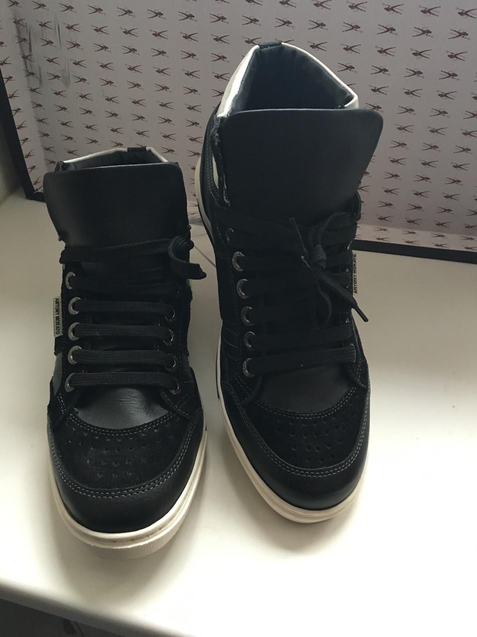 Кросівки чоловічі демісезонні шкіряні високі чорні Antony Morato
