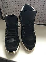 Кроссовки мужские кожаные демисезонные высокие черные Antony Morato