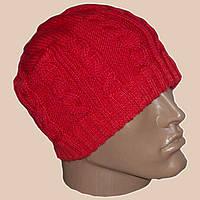 Вязаная мужская шапка кораллового цвета спортивного силуэта