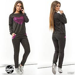 Женский спортивный костюм черного цвета с пайетками. Модель 17097