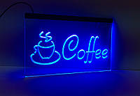 Светодиодная Лед вывеска Кофе (Табличка Coffee Led) Синяя, фото 1