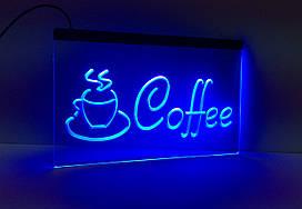 Светодиодная Лед вывеска Кофе (Табличка Coffee Led) Синяя