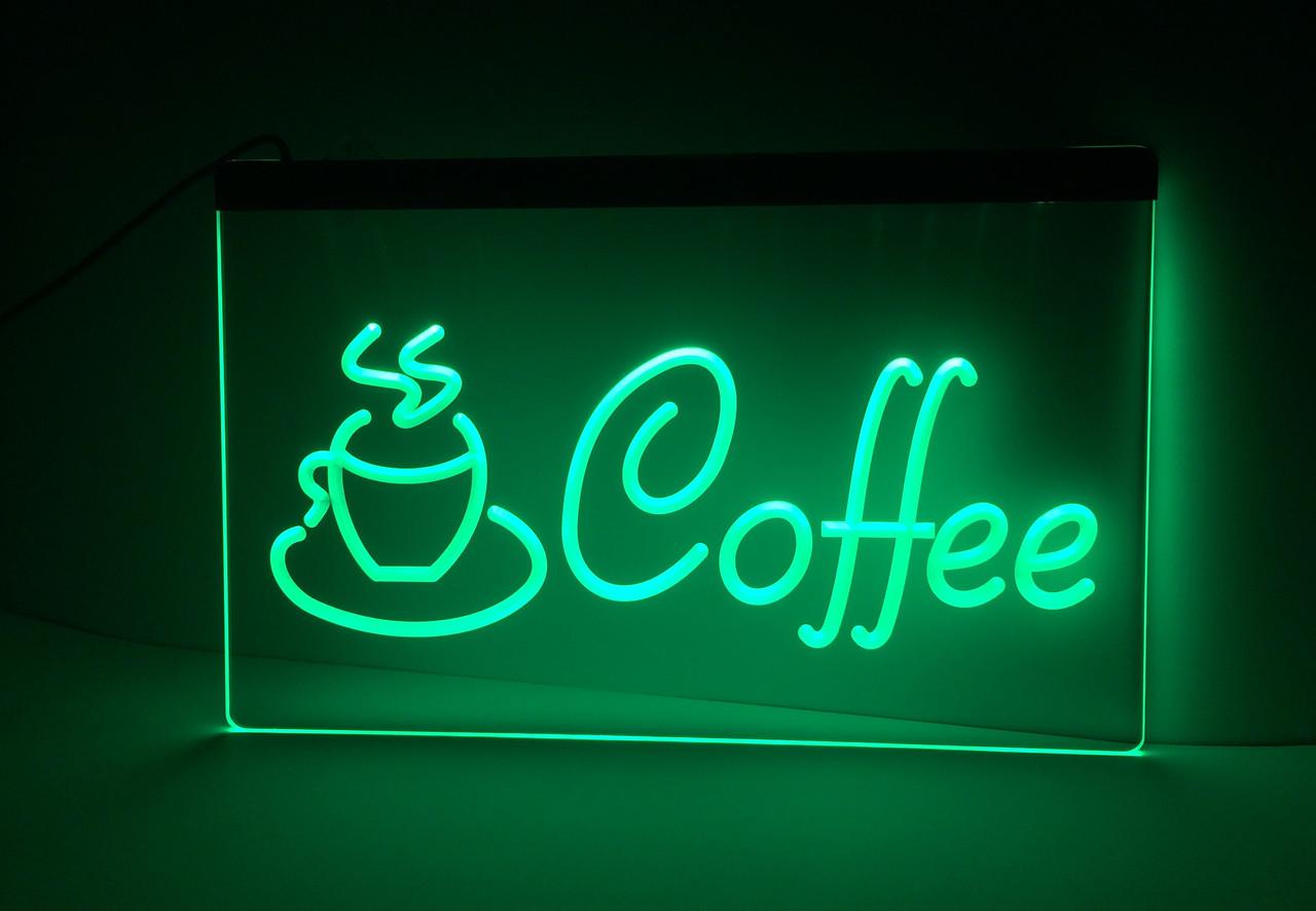 Светодиодная Лед вывеска Кофе (Табличка Coffee Led) Зеленая