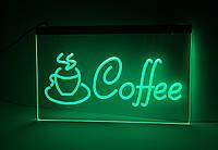 Светодиодная Лед вывеска Кофе (Табличка Coffee Led) Зеленая, фото 1