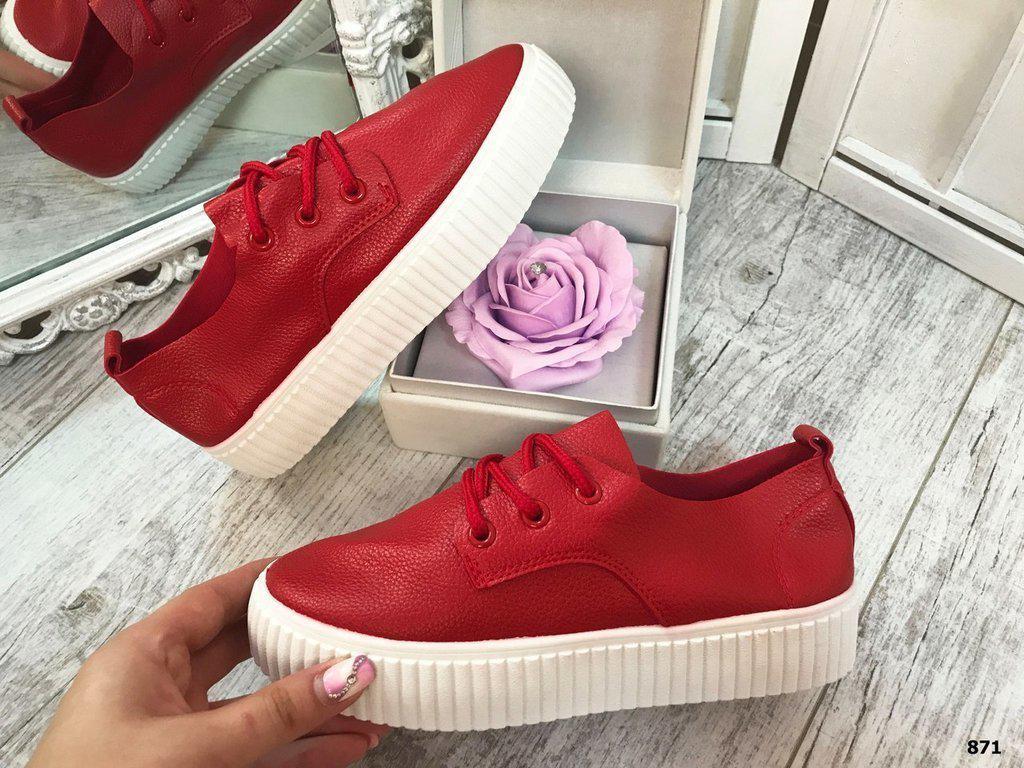 Женские красные кожаные криперы кроссовки кеды слипоны на рильефтной  подошве Violeta 5da47274a1b
