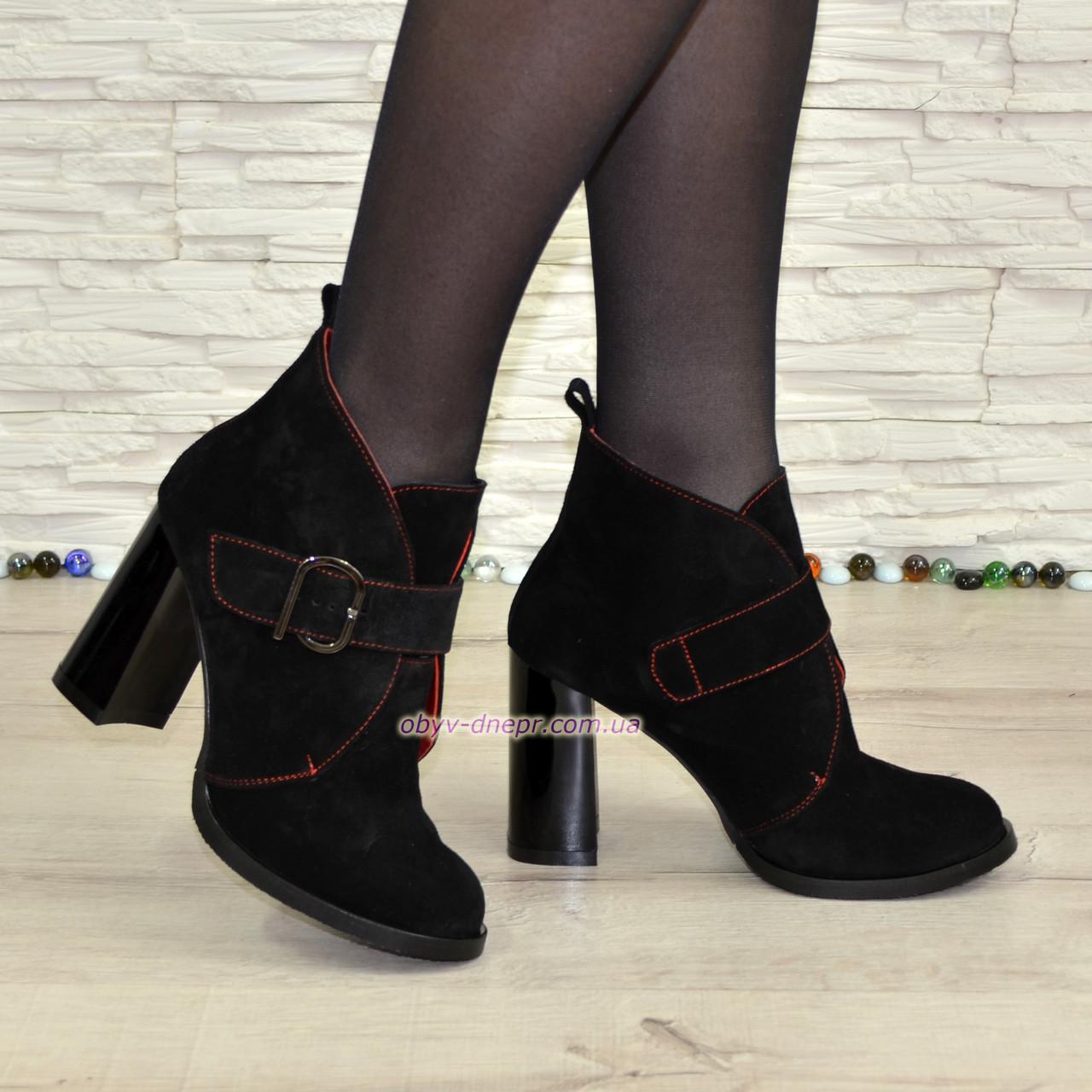 Ботинки черные замшевые женские на устойчивом каблуке