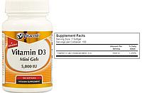 Vitacost, Витамин Д3, 5000 МЕ, 100 капсул