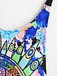 Купальник слитный яркий откровенный Купальник цветной сексуальный бразилиана молодёжный принт глаз -Размер S, фото 2