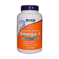 Now Foods, Рыбий жир Omega-3, 200 капсул