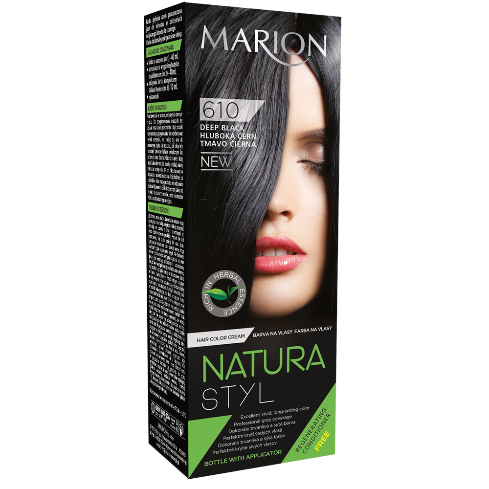 Фарба для волосся Marion Natural Styl 610 Глибокий чорний 40/40/10 мл (4118027)