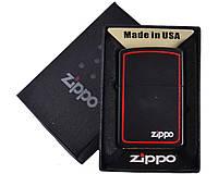 Зажигалка бензиновая Zippo с красной окантовкой №4730-2, в подарочной упаковке