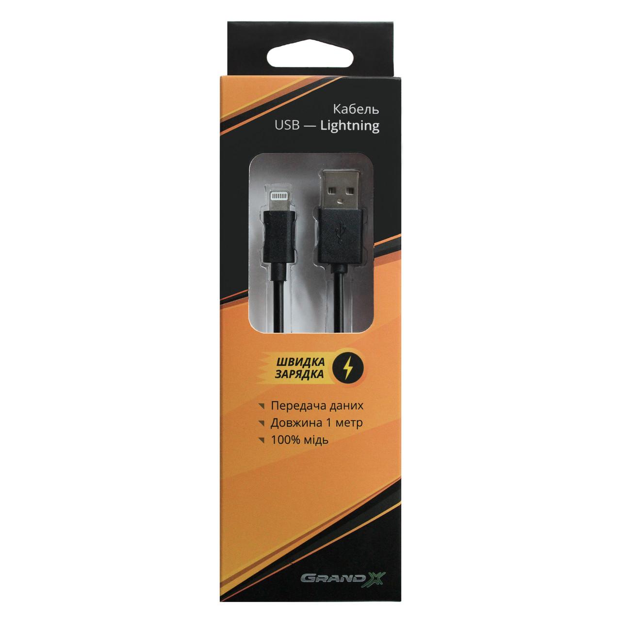 Кабель Grand-X USB Lightning PL01B Black