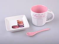 """Чашка с блюдцем и ложкой 100 мл. """"Завтрак"""" розовый"""