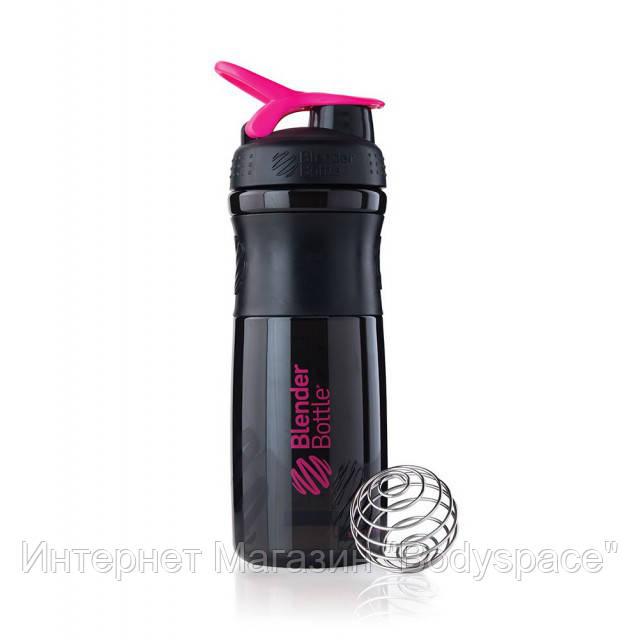 Blender Bottle, Спортивный шейкер-бутылка BlenderBottle SportMixer Black/Pink, 760 мл