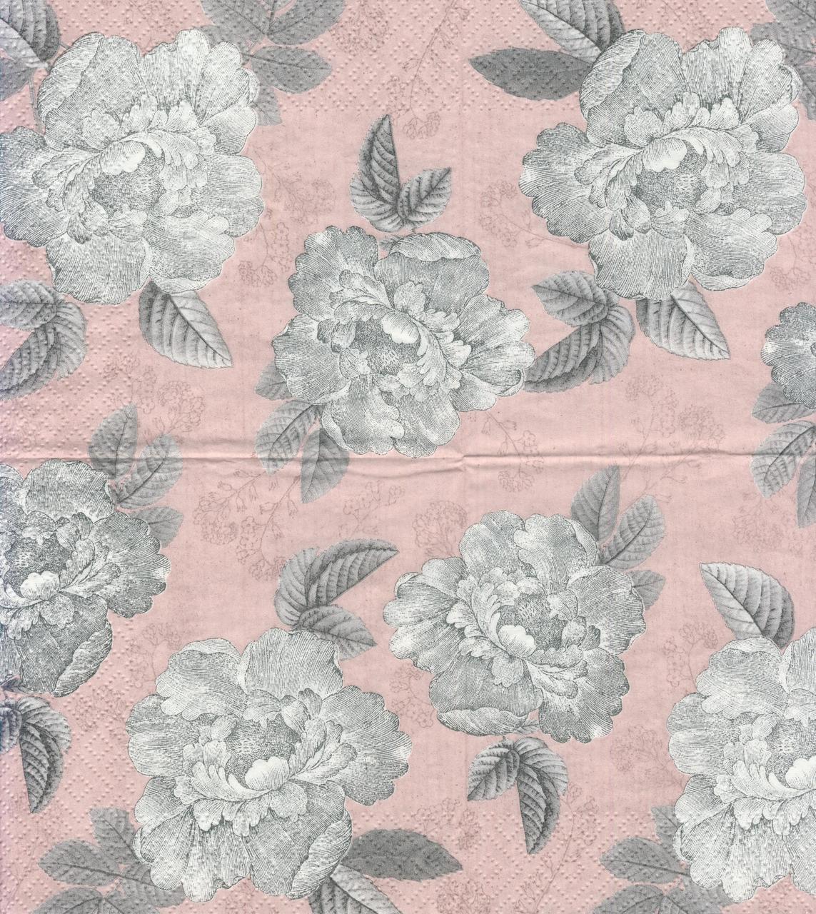 Декупажная салфетка Пионы на розовом фоне 7187