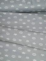 Короны на сером, постельное белье из ранфорса премиум (100% хлопок)