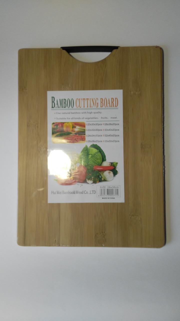 Дошка бамбукова супер з карболитовой ручкою 26*36