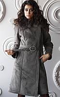 Дубленка женская модная средней длины со съемным капюшоном Д-61 из искусственного дубляжа с, фото 1